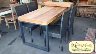 Conjunto Mesa Grampo Metalon 7x3,Balcão c/ 4 cadeiras Fibra Sintética
