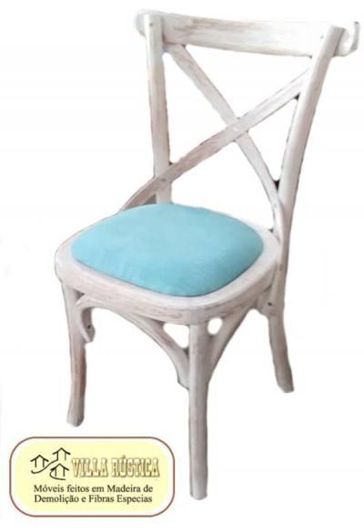 Cadeira Cross Pátina Branca Tecido